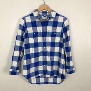 BNWOT Madewell Plaid Button Up High Low Flannel